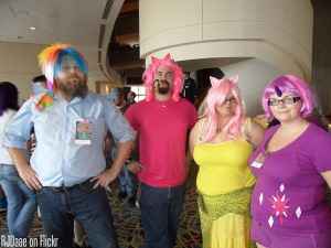 The convention going Bronies are joined by their female counterparts, known as Pegasisters.